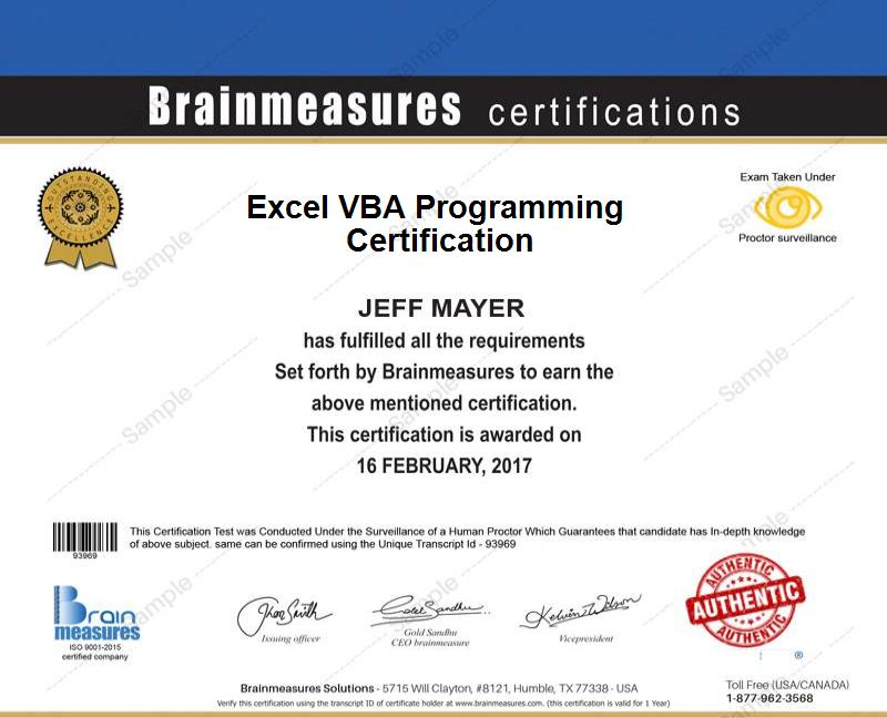 Excel VBA Programming Certification Course | Brainmeasures