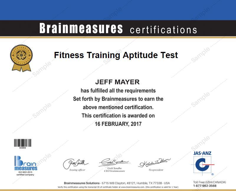 Fitness Training Aptitude Skill Test L Exam L Contest L Certification