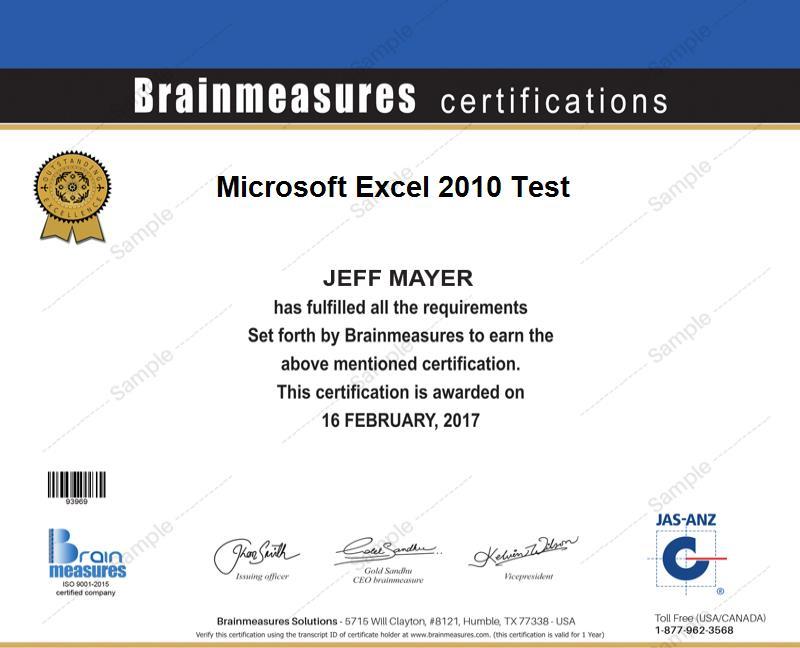 Microsoft Excel 2010 Skill Test L Exam L Contest L Certification
