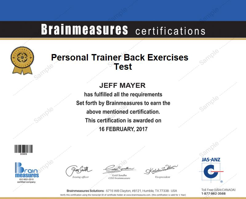 Personal Trainer Back Exercises Skill Test L Exam L Contest L