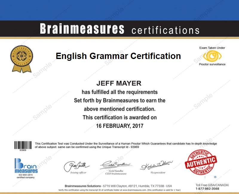 Basic English Grammar Certification USD 45 l Course