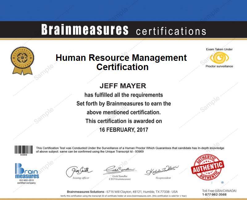 Human Resource Management Certification Usd 85 L Course