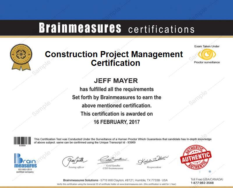 Construction Project Management Certification Usd 85 L Course