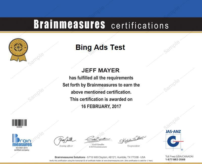 Bing Ads Skill Test L Exam L Contest L Certification