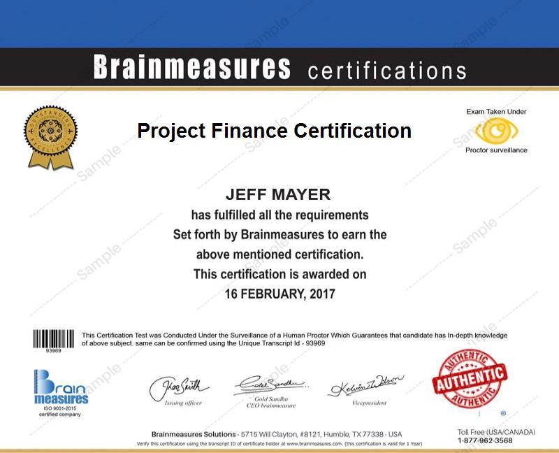 Project Finance Certification Usd 69 L Course