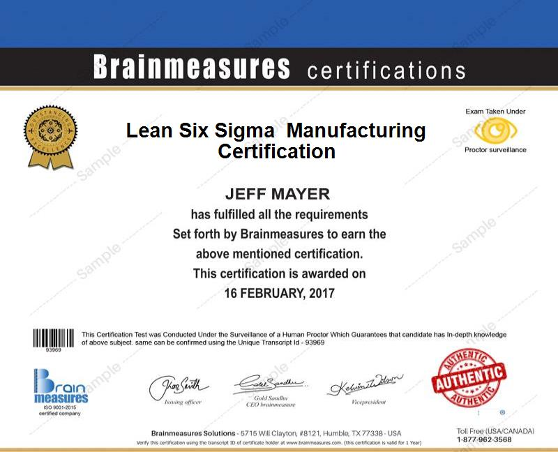 Mastering Lean Six Sigma In Manufacturing Certification L Course