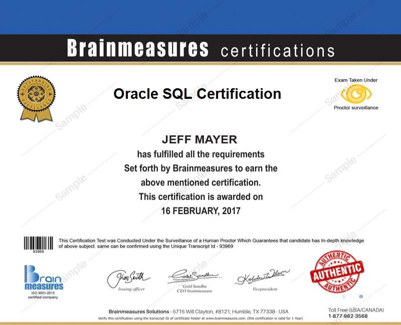 Oracle Sql Certification Usd 99 L Course L Training