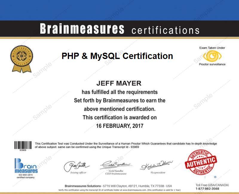 Php L Mysql Certification Usd 85 L Course L Training