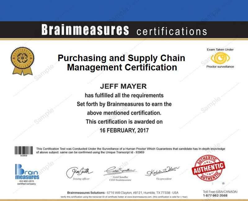 Purchasing L Supply Chain Management Certification Usd 99