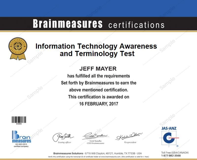 Information Technology Awareness And Terminology Skill Test L Exam L