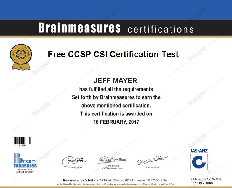 Free Ccsp Csi Certification L Practice Course L Practice Test