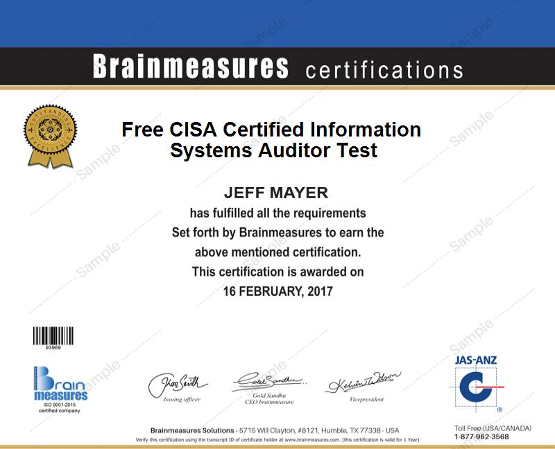 Cisa Information Systems Auditor Certification