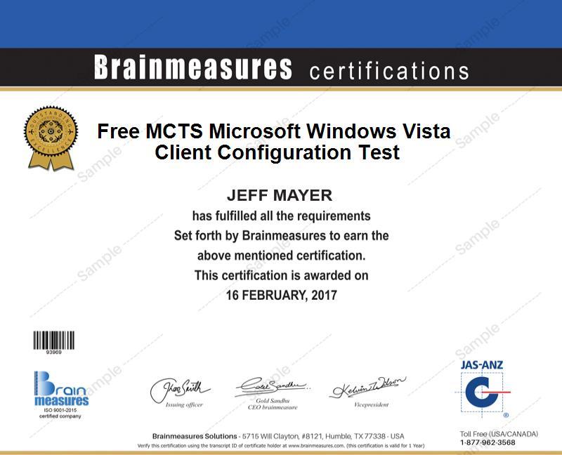 Free Mcts Microsoft Windows Vista Certification